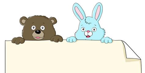 Cute Bear and Bunny
