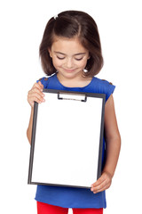 Brunette little girl with clipboard