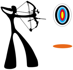 Shadow man playing archery game