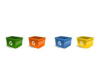 Raccolta differenziata. Recycling bins.
