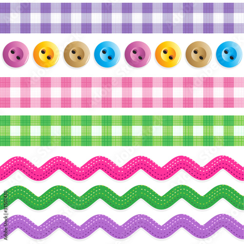 Seamless borders - gingham ribbons, ric racs, sewing buttons