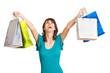jubelnde Frau mit Einkaufstüten