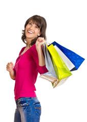Mädchen trägt Einkaufstaschen