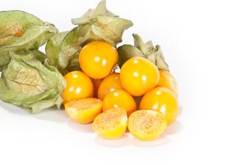 Physalis Früchte am linken Bildrand