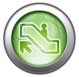 "Green glossy 3D effect button ""Escalator Up"""