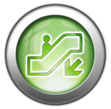 "Green glossy 3D effect button ""Escalator Down"""