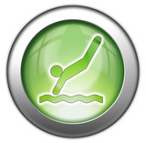 "Green glossy 3D effect button ""Diving"""