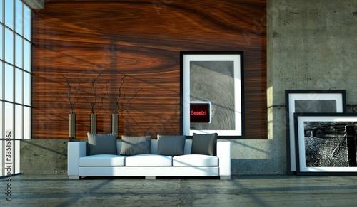Wohndesign Loft mit Holzwand
