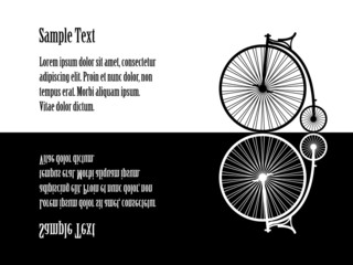 Illustration of velocipede (old  bicycle), black and white, refl