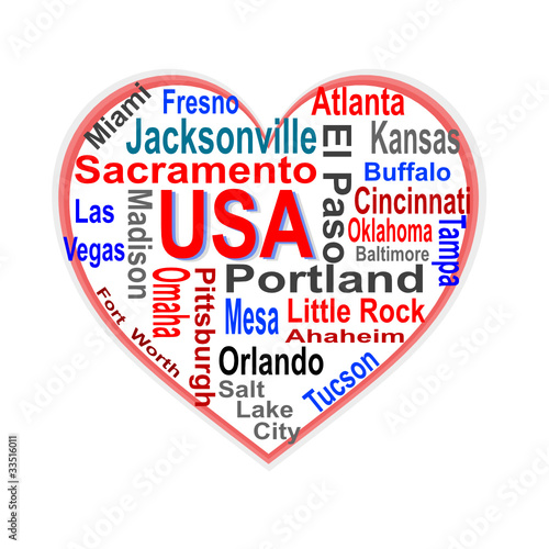 USA Heart words cloud with larger american cities