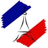 Stylized French Flag and Eiffel Tower