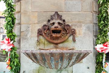 A bronze fountain