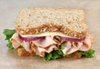 Healthy Turkey and Cheese Sandwich on Whole Grain Bread