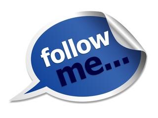 follow me speech bubble