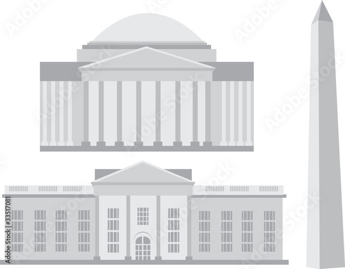 Famous landmarks in Washington, DC - vector
