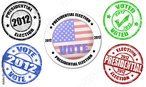 Set of presidential election grunge stamps and label