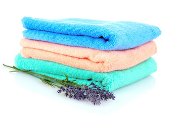terry towels and lavender isolated on white