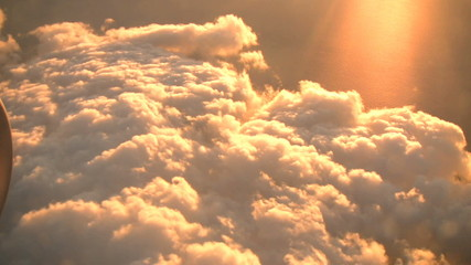 Spectacular sunset in the skies as seen from a passenger jet