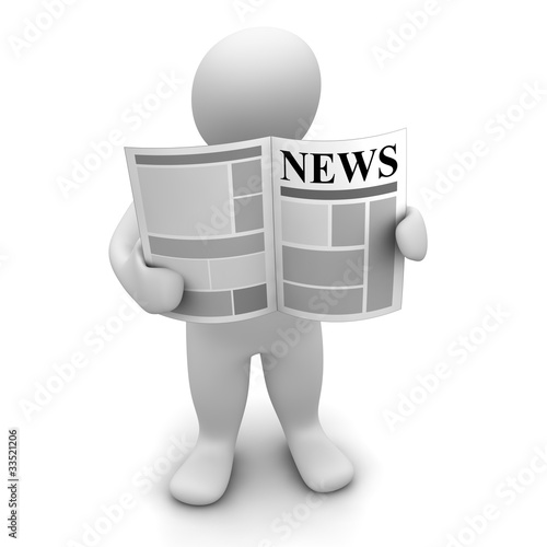 Man standing and reading newspaper. 3d illustration.