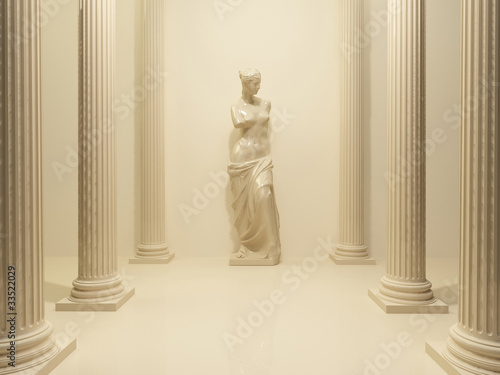 Ancient Statue of a nude Venus in the middle of perspective pill - 33522029