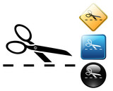 Scissors cut pictogram and signs