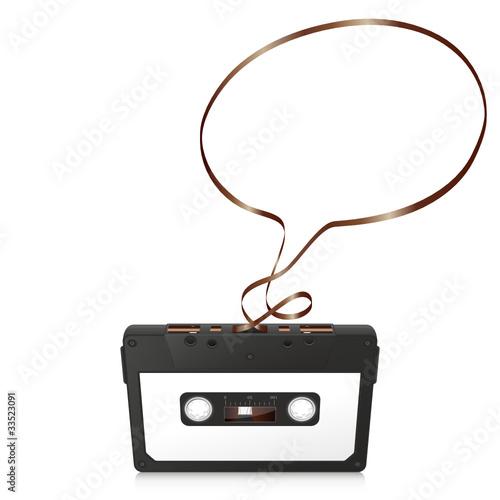 Audiokassette, Musikkassette, Kassette, Silhouette, Sprechblase