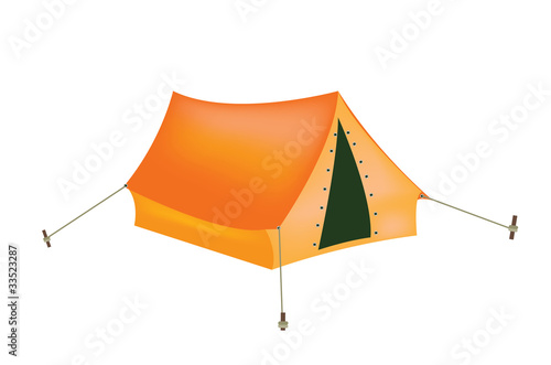 Tourist tent on white background