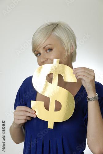Frau mit Dollarzeichen