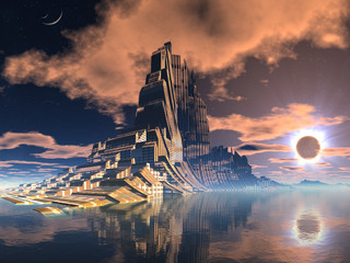 Futuristic Alien City at Lunar Eclipse