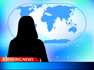 Breaking news tv background with woman reporter