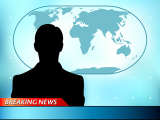 Breaking news tv background with man reporter