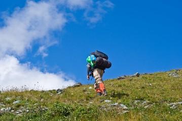 tourist ascenting upwards