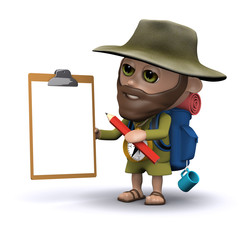 3d Hiker has clipboard ready to take notes