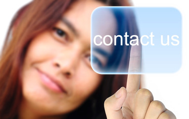 women hand pushing contact us button on a touch screen
