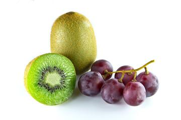 kiwi and grape fruit isolated