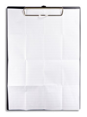 white crumpled paper with clipboard