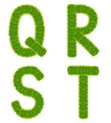 green grass letter qrst isolated