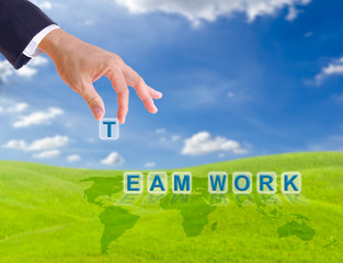 business man hand and  team work word