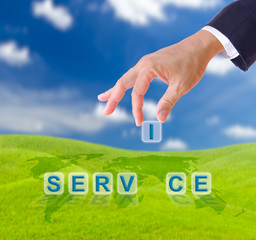 business man hand and service word