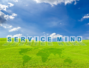 service mind word on green grass meadow