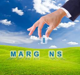 business man hand made margins word buttons