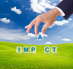 business man hand made impact word buttons