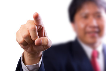 business man pointing finger