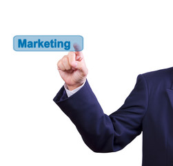 business man hand pushing marketing button isolated