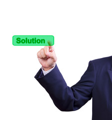 business man hand pushing solution button isolated