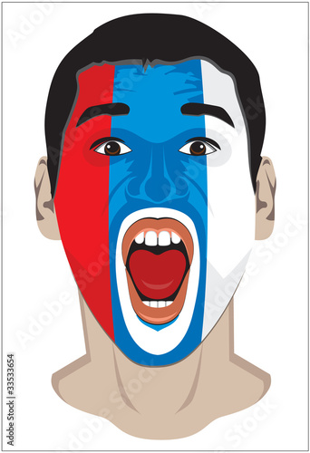 Sports fan face with Serbia flag