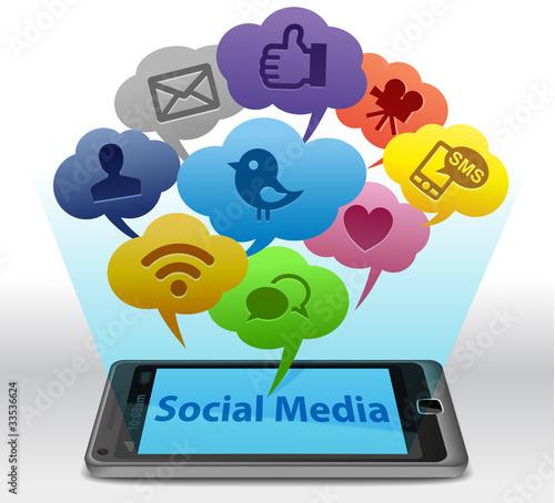 Leinwanddruck Bild Social media on Smartphone