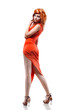 sexy woman in red dress isolated on white