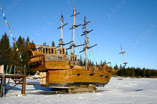 Imitation of wooden piratic sailing vessel