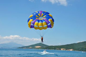 Paragliding on beach